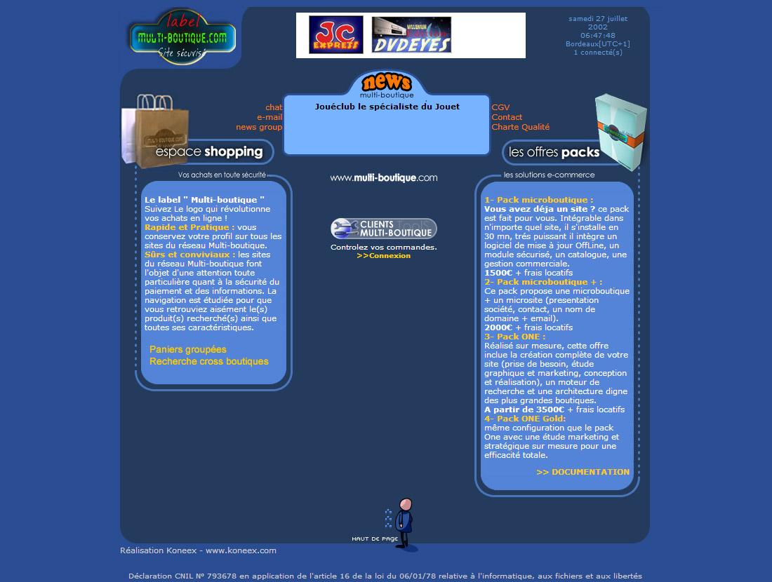 Home page de multiboutique